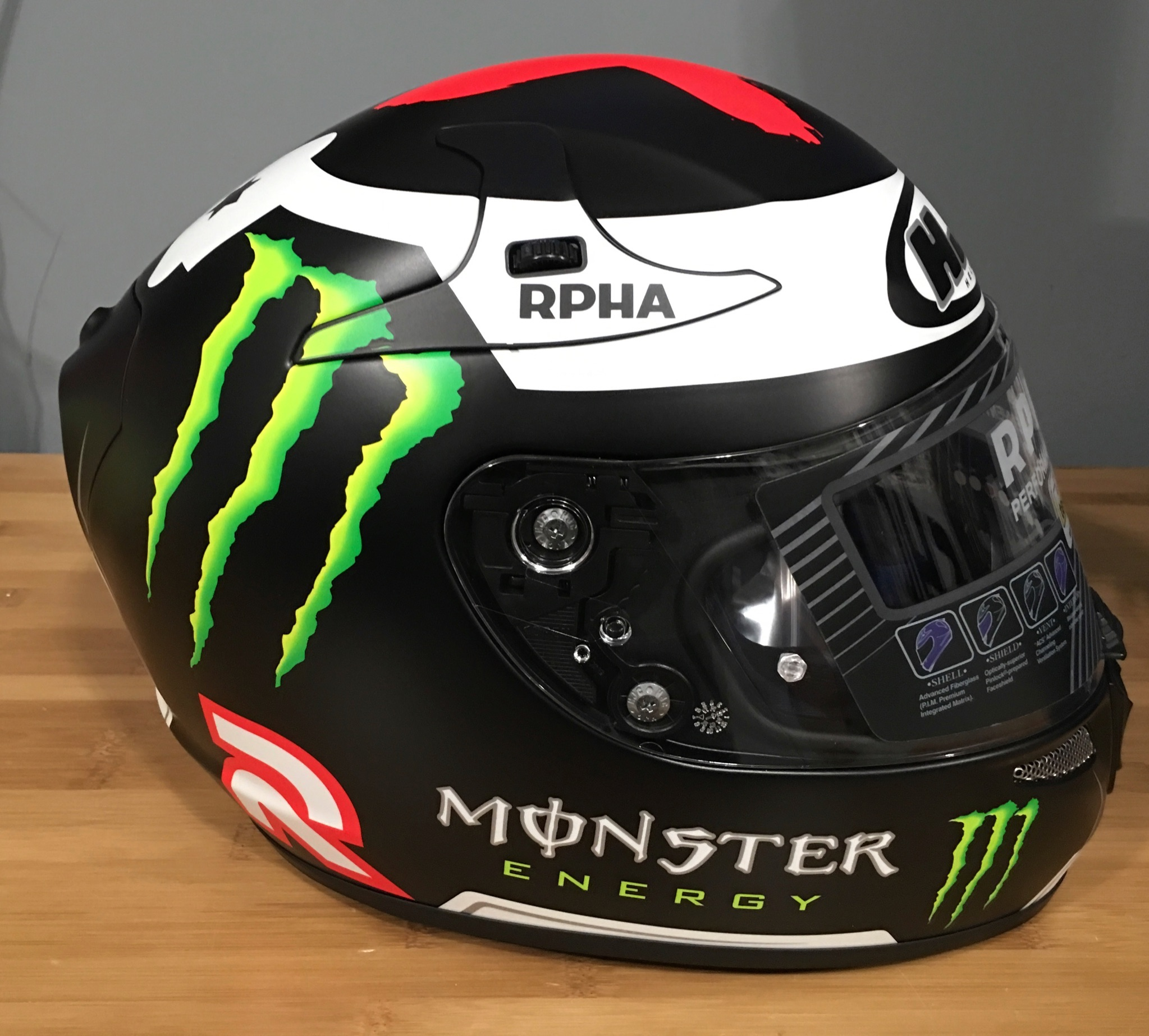 ahjc rpha 10 pro jorge lorenzo replica 3 helmet mc 1f. Black Bedroom Furniture Sets. Home Design Ideas